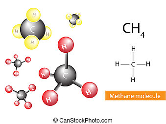 Methane molecular structure,  gas, vector