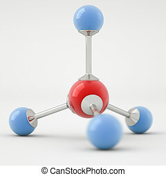 Methane molecule - Render of a methane molecule isolated on...