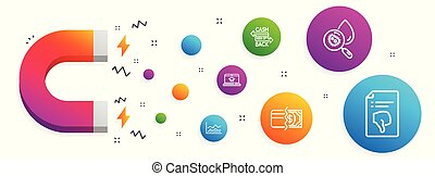 methodes, iconen, set., kaart, analyse, water, vector, cashback, betaling