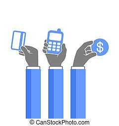 methodes, iconen, set., vector, online, betaling