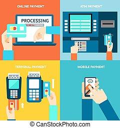 methods., カード, モビール, app, atm, ターミナル, クレジット, 現金, 支払い