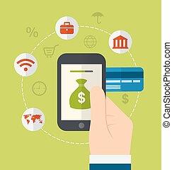 methods., apartamento, estilo, ícones, gateway, online, fundos, desenho, conceitos, pagamento eletrônico