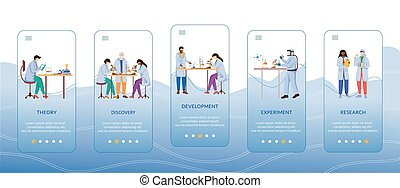 Methods of scientific research onboarding mobile app screen vector template. Work of scientist. Walkthrough website steps with flat characters. UX, UI, GUI smartphone cartoon interface concept