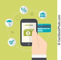 methods., plano, estilo, iconos, entrada, en línea, fondos, diseño, conceptos, pago electrónico