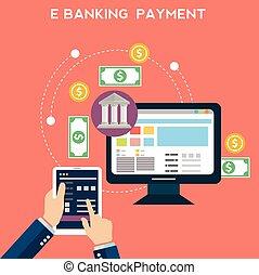 methods., plat, draad, transfer., iconen, beweeglijk, fondsen, concepten, illustratie, betalingen, vector, ontwerp, gataway, online, overdrachten, elektronische betaling, bank