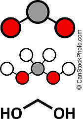 methylene, glycol, (methanediol, ホルムアルデヒド, monohydrate), molecule., 形作られる, に, 溶ける, ホルムアルデヒド, 中に, water.