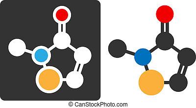 Methylisothiazolinone (MIT, MI) preservative molecule, flat icon style. Atoms shown as color-coded circles (oxygen - red, carbon - white/grey, sulfur - yellow, nitrogen - blue, hydrogen - hidden).