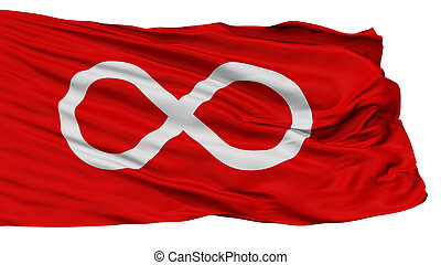 Metis Red Indian Flag, Isolated On White