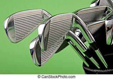 golf club closeup - metl golf club closeup on green...