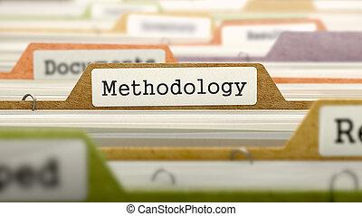 metodologia, su, affari, cartella, in, catalog.