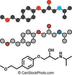metoprolol, magas vérnyomás, kábítószer, molekula, (beta,...