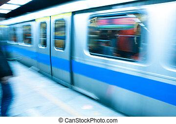 metró, kiképez, utazás, -ban, nagysebességű