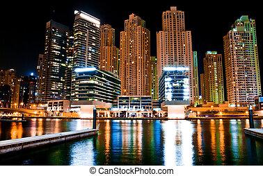 metrópoli, paisaje, noche
