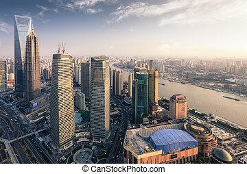 metrópoli, shanghai, moderno, anochecer