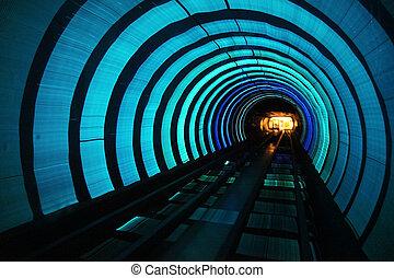 metrô, trem alta velocidade, com, borrão moção
