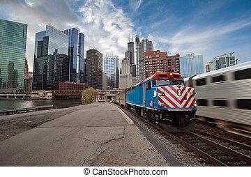 metra, train., chicago