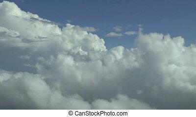 metraggio, aereo, nubi, sopra