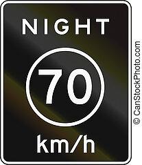 Metric Night Speed Limit Sign