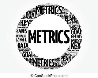 metrics, círculo, palabra, nube