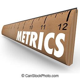 metrics, szó, vonalzó, mérés, rendszer, metodika,...