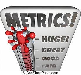 metrics, termômetro, medida, medindo, desempenho, resultados