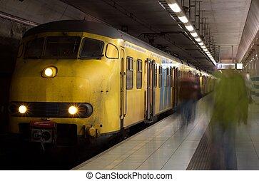 metro, żółty, pociąg
