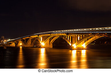 Metro bridge over the Dnieper river in Kiev, Ukraine
