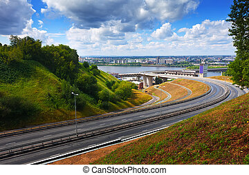 Metro Bridge through Oka River - View of Nizhny Novgorod....