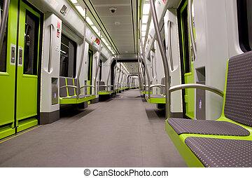 Metro Car - Inside a green empty subway car