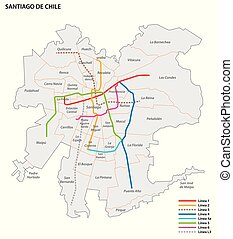 Metro de Santiago vector map.