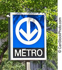 metro, distintivo, sistema, metro, signage, montreal