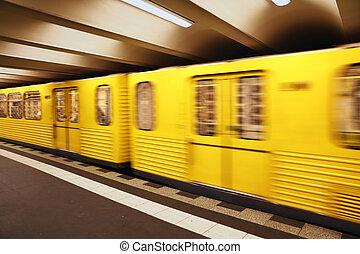 metro, do góry, żółty, ruch, pociąg, metro, zamknięcie