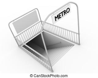 Metro entrance in a city. Modern urban transport.