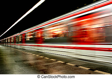 metro, en, el, praga, (transportation, background)