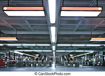 Metro entrance and gate - Here is a Montreal metro entrance ...