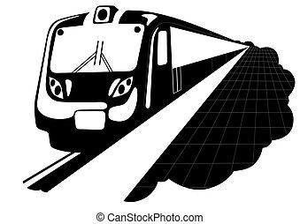 Metro. Urban electric. Black and white illustration