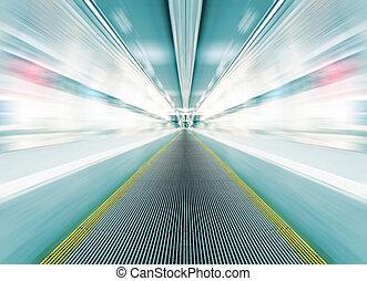 metro, escada rolante, em, vidro, corredor