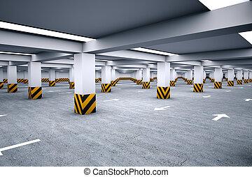 metro, estacionamiento, vacío, área