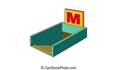 Metro icon animation cartoon best object isolated on white background