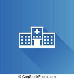metro, icono, -, hospital, edificio