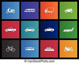 metro, iconos, -, transporte
