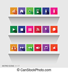 Metro Icons, Vector Illustration