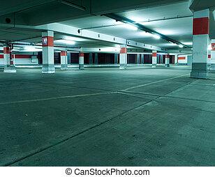metro, interior, garaje, estacionamiento