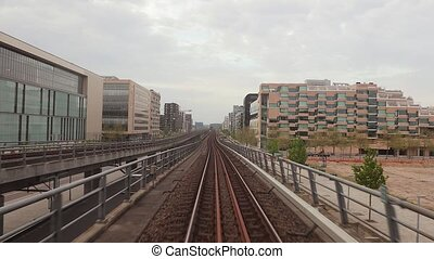 Metro journey view - Metro jouney on the surface, view from...