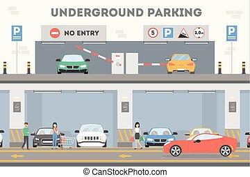 metro, lot., estacionamiento