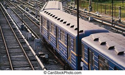 metro., métro, rails., dépôt, voitures métro, aller, dépôt