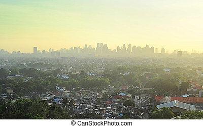 Metro Manila suburb - Suburb of Metro Manila at sunset