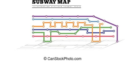 Metro map in the form of a train