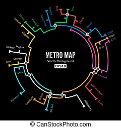 Metro Map Vector. Imaginary Underground Map. Colorful Background With Stations