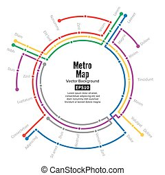 Metro Map Vector. Plan Map Station Metro And Underground Railway Metro Scheme Illustration. Colorful Background With Stations